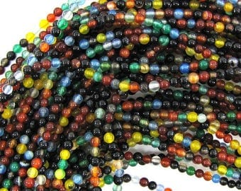 "3mm multicolor agate round beads 16"" strand 30280"