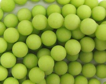 "12mm frost jade round beads 15"" strand lemon green 33561"