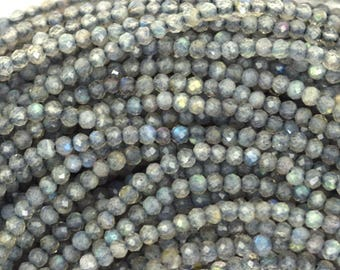 """2mm faceted grey labradorite round beads 13"""" strand seed 37202"""