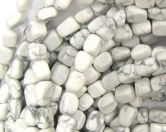 "4-8mm white howlite nugget beads 15"" strand 33140"