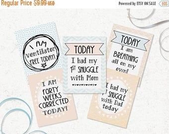 ON SALE NICU Milestone Cards - Printable Preemie Milestones - Diy Preemie Gift - Neonatal Milestone Cards - Gender Neutral Nicu Cards