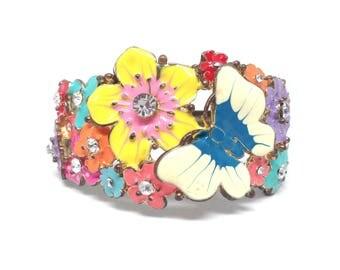 Unique Gorgeous Estate Enamel Flower Butterfly Clamper Bracelet