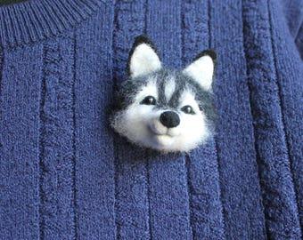 Needle felted brooch Dog Eskimo husky Animal brooch Felt Brooch Dog Husky Original Accessory