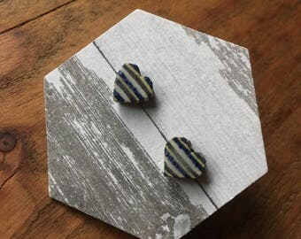 Ceramic Striped Heart Earrings