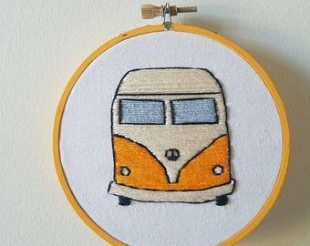 Hippie Van Embroidery Hoop Art