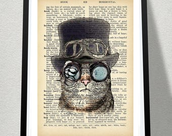 Steampunk Cat Poster Print Dictionary Print Printable Poster, Cat Print, Funny Poster, Gift For Cat Lover, Book Art Print Posters And Prints