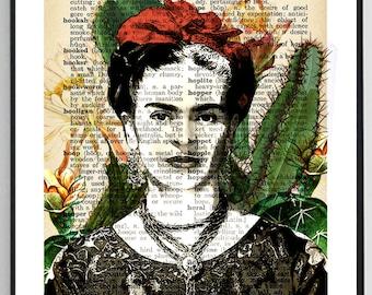 Frida Kahlo Art Upcycled Dictionary Print Frida Kahlo Print Dictionary Page Gift for Her Printable Poster Frida Kahlo Poster Dictionary Art
