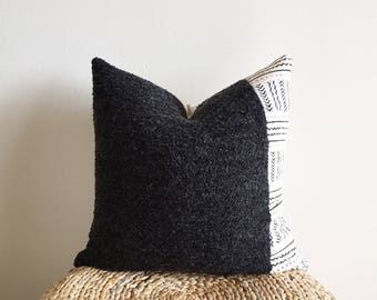 African Black/Off-white Mudcloth & Charcoal Gray Wool Pillow Cover (Size: 20x20)