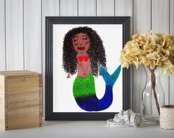 Mermaid Print, Mermaid Drawing, Mermaid Art Print, Black Mermaid Print, Rainbow Mermaid, Mermaid Decor, Mermaid Nursery, Mermaid Birthday