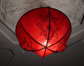 Oriental ceiling lamp made of henna/leather Marrakech 1001 Night Ø 40 cm