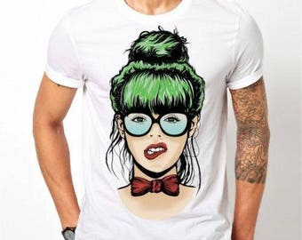 Mens Designer Nerdy girl - Printed Cotton White T-Shirt