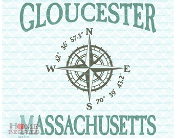 Gloucester Massachusetts Latitude Longitude Nautical Compass Rose Location svg dxf eps jpg ai files for Cricut Silhouette & others