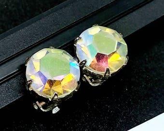 Large 1.2cm Clip on earrings, vintage earrings, AB crystal earrings, rhinestone earrings, earrings, wedding earrings, AB crystal earrings