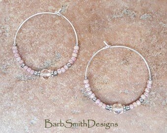 "Beaded Pink and Silver Crystal Hoop Earrings, Large 1 3/8"" Diameter in Tea Rose"