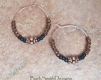 "Beaded Black Shiny Copper Rose Gold Hoop Earrings, 1"" Diameter in Black n' Shiny Copper"