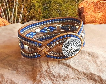 "Blue and Silver Wrap Bracelet-Beaded Leather Cuff-Woman's Bracelet-Southwest-Size 6 1/2""-Custom Size-""Desert Treasures"" in Picasso Blue"