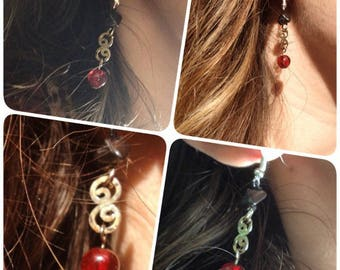 Earrings hematite and Red