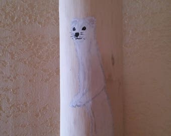 Painting on wood with an ermine