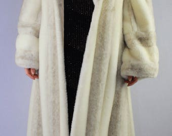 70's VTG Floor Length Faux Mink Cream Fur Coat