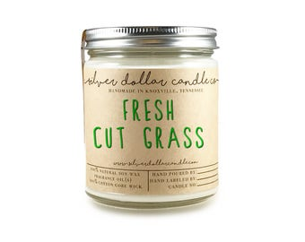 Fresh Cut Grass 8oz Scented Candle, Strong Scented Candles, Grass Candle, Summer candle, Gift for mom, Spring Candle, unique candle, gift