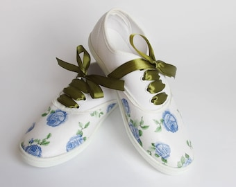 """Women's Sneakers with Decoupage """"Blue Flowers"""", Canvas Shoes, Casual Sneakers, Birthday Party, Custom"""