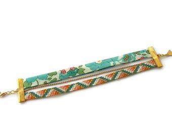 Cuff Bracelet in Miyuki beads and liberty