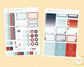 Winter Bird Mini Kit, Winter Weekly Kit Planner Stickers, Erin Condren Life Planner, Happy Planner, Filofax