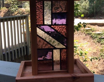 Stained Glass and Redwood Bird Feeder