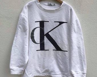 Ck Sweatshirt Vintage Calvin Klein Usa Pullover Sweater Hip Hop Swag Streetwear Hipster Jacket 90s Ck Big Logo fVDdcX