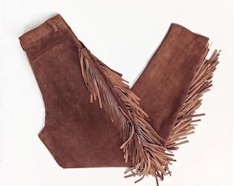 Vintage Clothing, Suede Fringe Pants, Festival Pants, Western Pants, High Waisted Pants, Boho Pants, Native American Pants, SIZE S 26 Waist