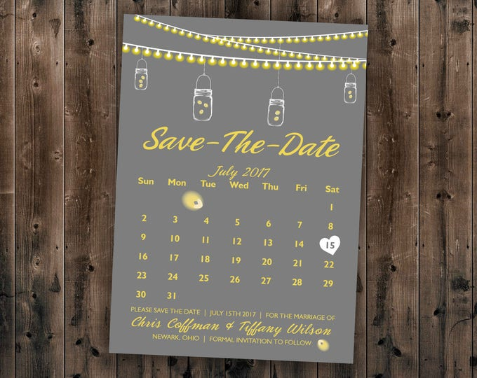 Save the Date Postcards, Save the Date Cards, Save the Dates Template, Lights, Calendar, Gray, Yellow, Calendar, Mason Jar, Wedding Invites