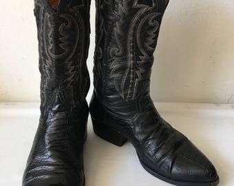 Black men's boots from real ostrich leather durable leather vintage style western cowboy boots old boots retro boots men's size - 7 1/2-8.