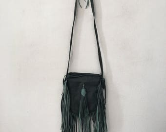 Green shoulder hand made bag, woman fringe leather comfortable small bag .