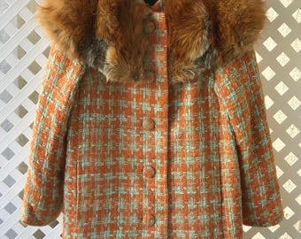 Classy Mid Length Vintage Wool And Genuine Red Fox Fur Collar Orange Coat Size Medium.
