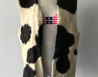 Interesting women's warm vest real cow fur velvet and soft fur winter vest long vest vintage retro style black&white has size-medium.