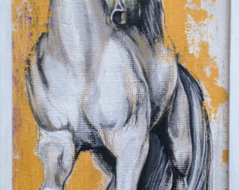 White Horse, White Stallion, Yellow Backgroung Splashes, Original Painting, Original Art