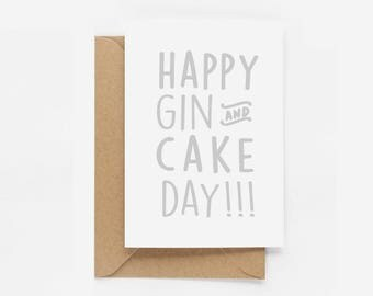 Happy Gin and Cake Birthday Card