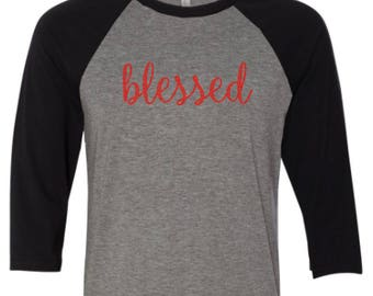 Blessed shirt, Blessed  Raglan baseball  shirt  Blessed raglan  Blessed t-shirt, Religious shirt - made by Enid and Elle
