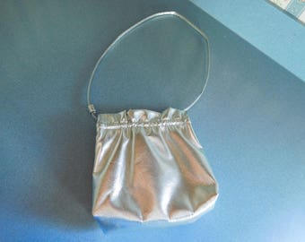 Vintage Silver Faux Leather/Vinyl Evening Bag/Purse New Years Eve or Wedding Purse
