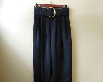 Vintage Retro High Waist Belted Black Dress Slacks Size 9/10