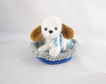 Little Crochet Puppy, Stuffed Animal, OOAK, Collectible, Gift for Her, Gift for Him, Ready to Ship, Nursery Decor, Nursey Gift