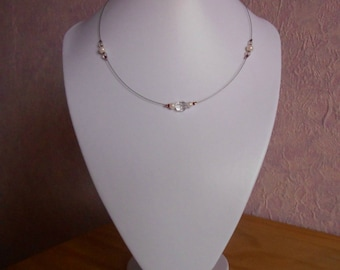 Burgundy and white simple wedding necklace