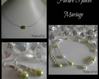 Set of 3 wedding pieces green lime and white beads