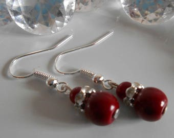Wedding earrings Burgundy pearls and rhinestones