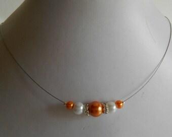 Bridal rhinestone and Pearl Orange bronze and white