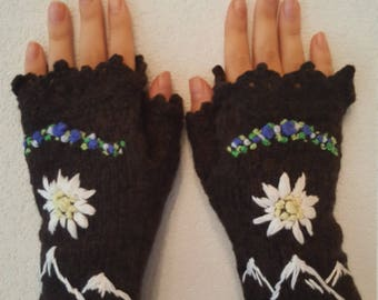 Hand Knitting  Fingerless Gloves mittens Edelweiss Clothing Accessories Alps Bavarian style embroidered Lace
