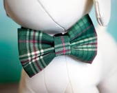 Green Plaid Christmas Dog Bow Tie, Red & Green Stripe Bow Ties for Dogs / Cats, Holiday Wedding Dog Bowtie fits Small Medium Large Size Pets