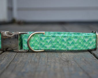 Dog Collar Tribal, Triangle Dog Collar, Green Dog Collar, Dog Collar and bow, Dog Collar for boys, Dog Collar for girls, Dog Collar Girl,Dog