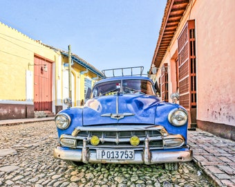 Blue Classic, Classic Car Photo, Cuba Art Print, Canvas, Cuban Decor, Large Wall Art, Travel Photo, Travel Photography, Cuba Photography