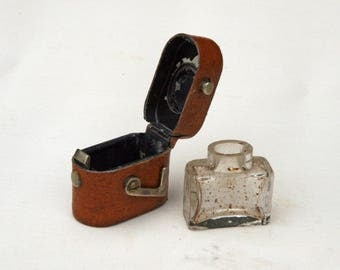 Antique Travelling Inkwell in a Leather Case